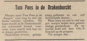 Aankondiging Tom Poes in 1948