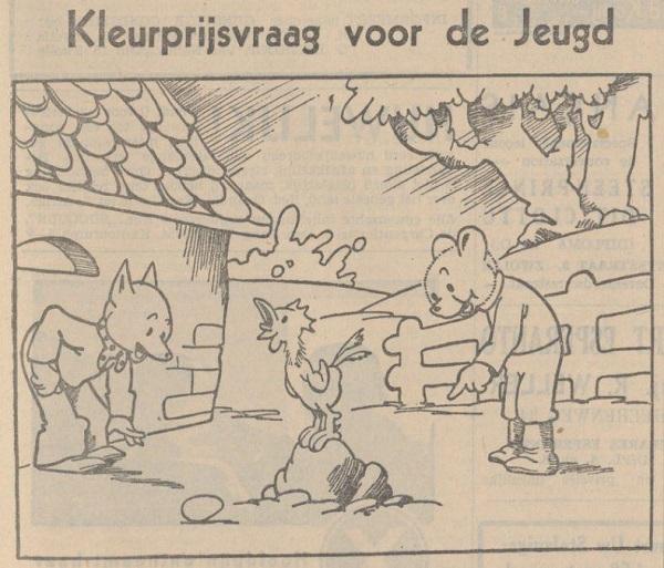 Kleurplaat Thijs IJs in de Provinciale Overijsselsche en Zwolsche Courant 24 dec 1936
