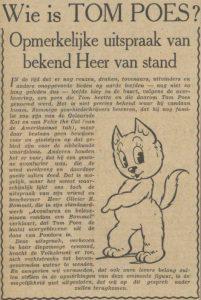 Wie is Tom Poes? in de Volkskrant 6 maart 1947