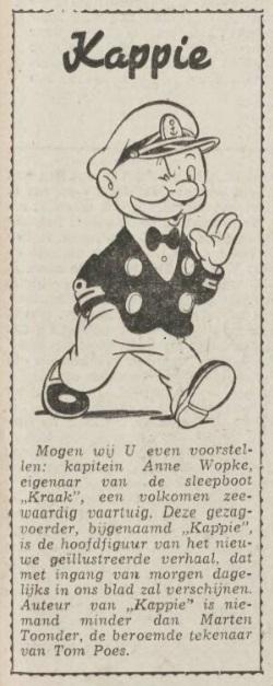 Aankondiging Kappie 20 oktober 1948